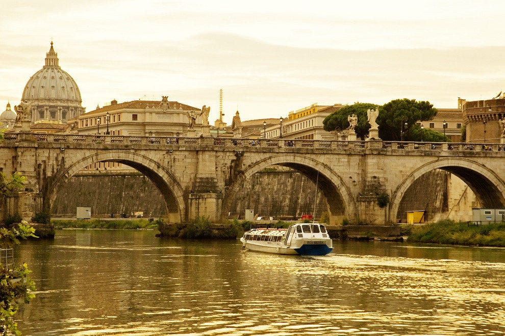 View of Saint Peter's Basilica and the Ponte Sant'Angelo