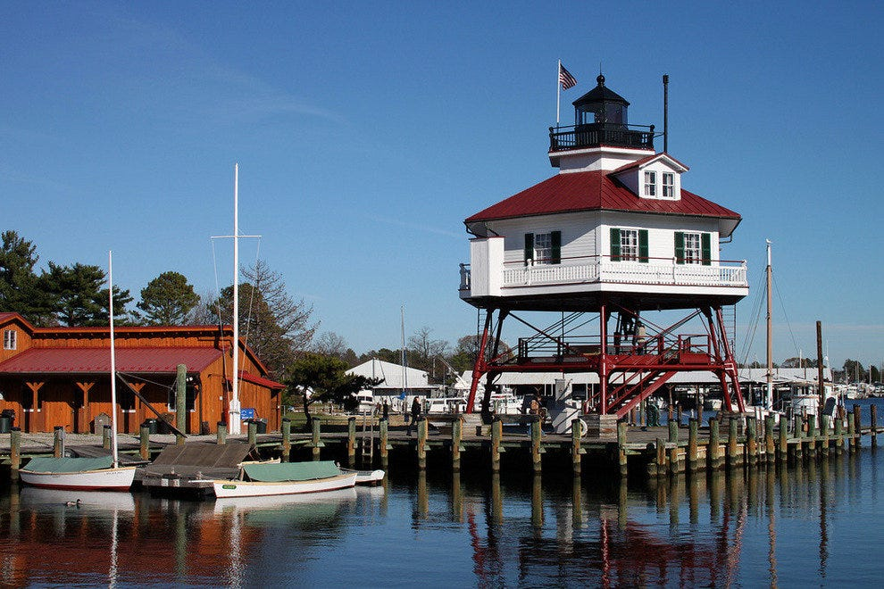 The historic Drum Point Lighthouse on Chesapeake Bay