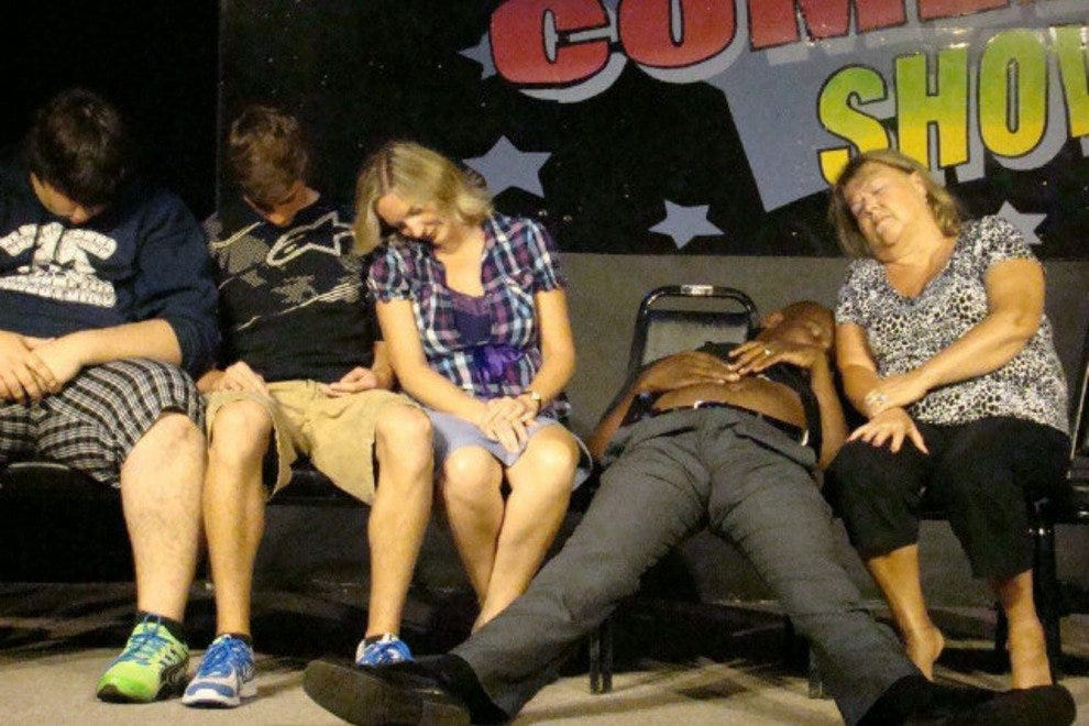 Hypnotized audience members at a Big Laughs show