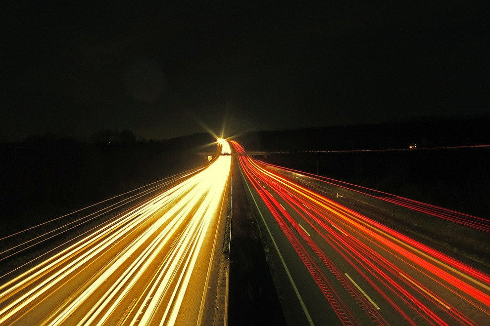 15 seconds exposure of the Autobahn