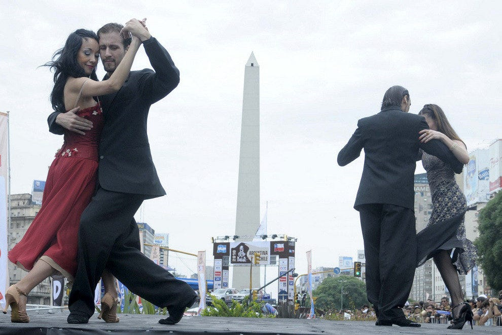 Tango dancers perform in the streets of Buenos Aires
