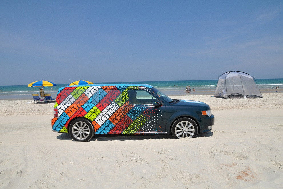 Cars can drive right onto the beach in Daytona.