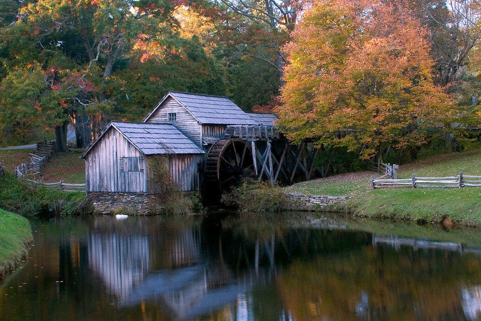 Mabry Mill painted in fall colors