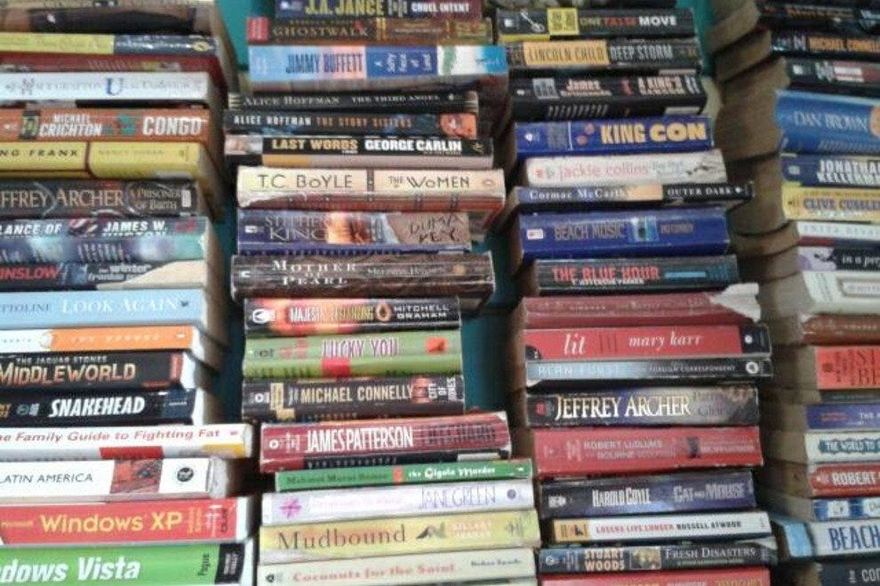 Stacks of books at the Flea Market Puerto Viejo