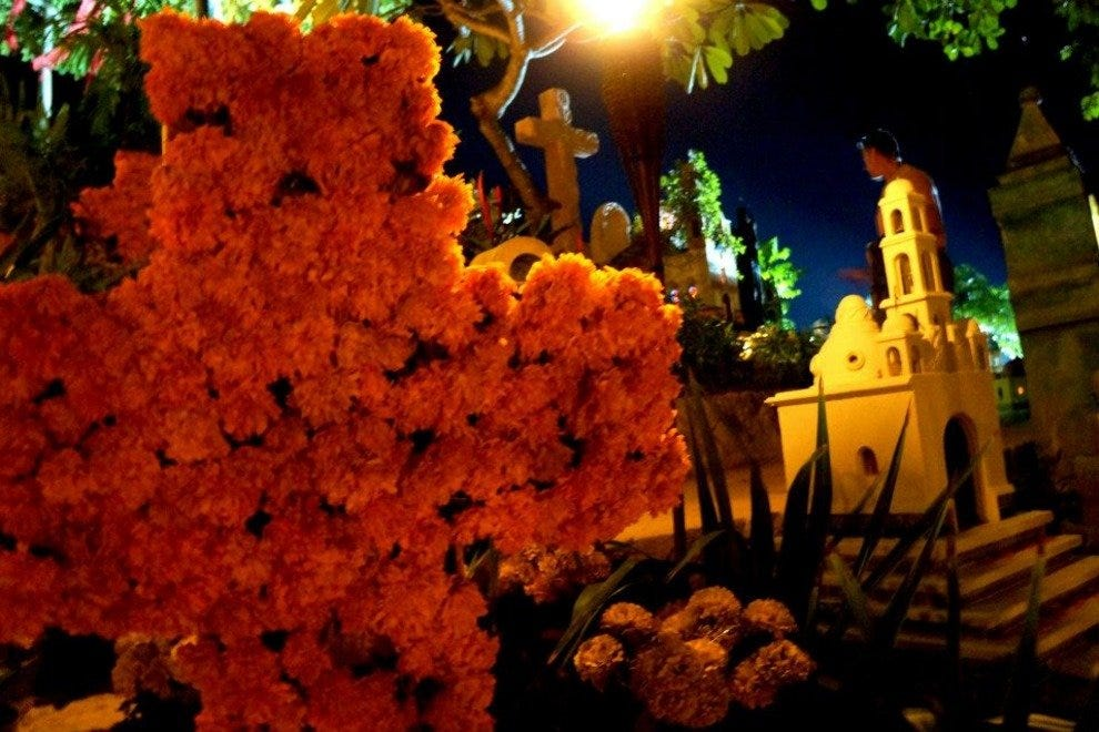 Xcaret's cemetery is beautifully decorated for the Day of the Dead festival