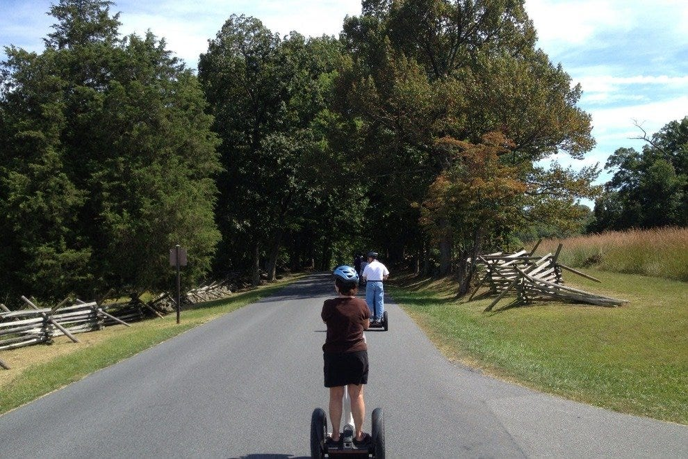 On a Segway tour of the Battlefield