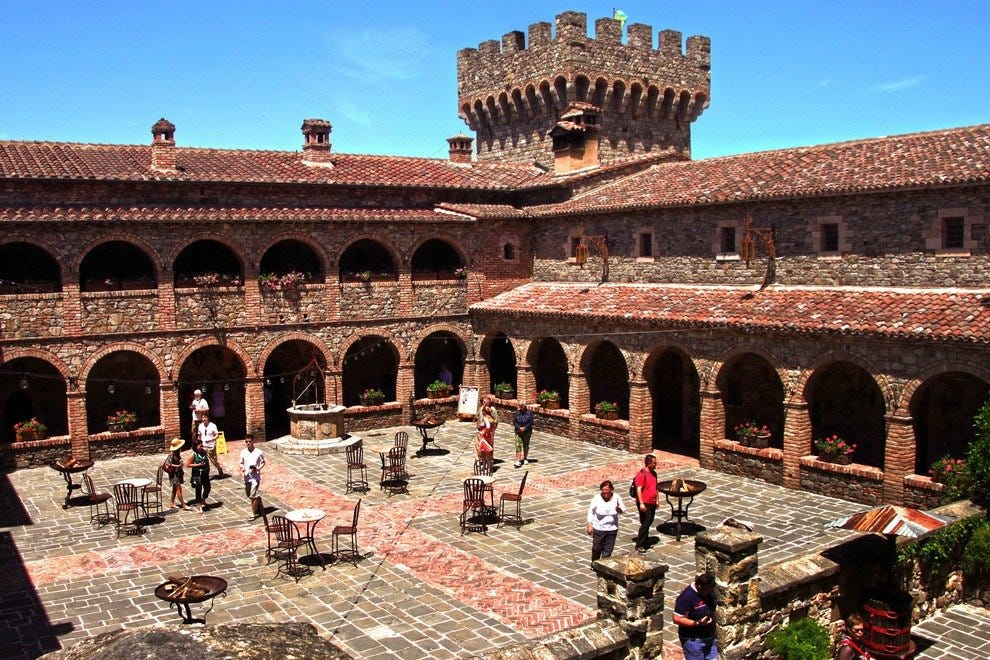 The authentically-constructed courtyard of the Castello di Amorosa