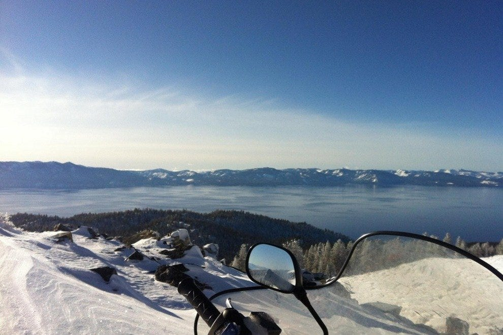 The view of Lake Tahoe from a snowmobile