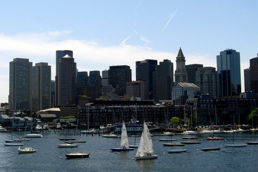 Boston's skyline from the harbor
