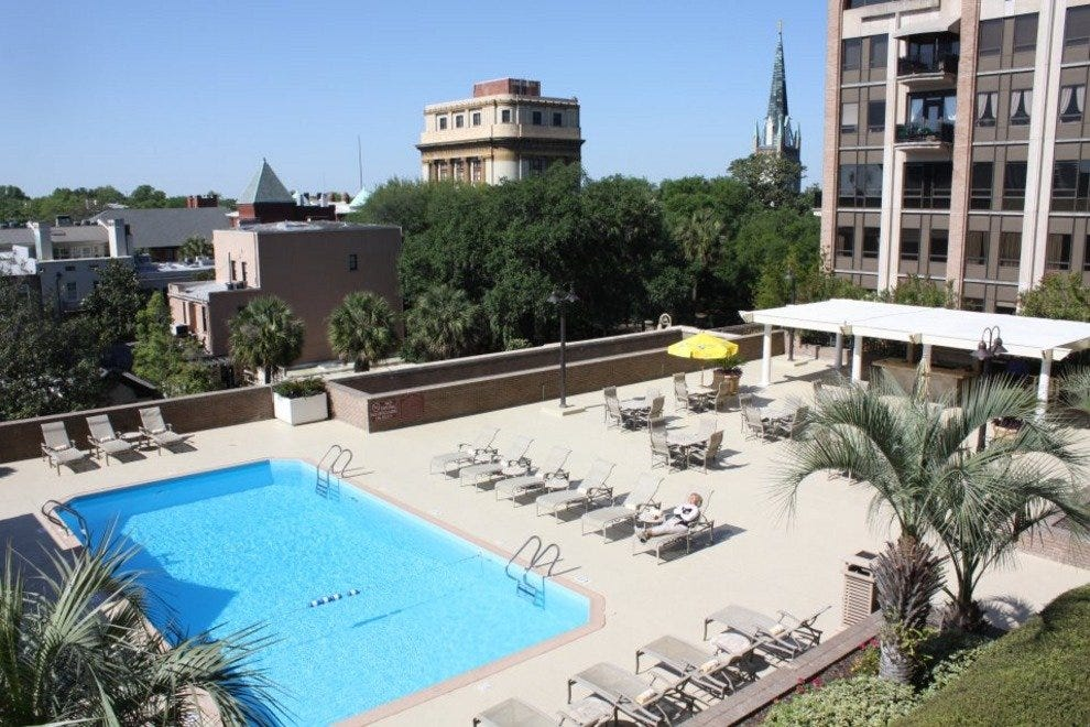 The DeSoto's rooftop pool features incredible views of the city