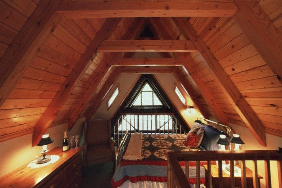 A bedroom loft in one of Sorensen's cabins