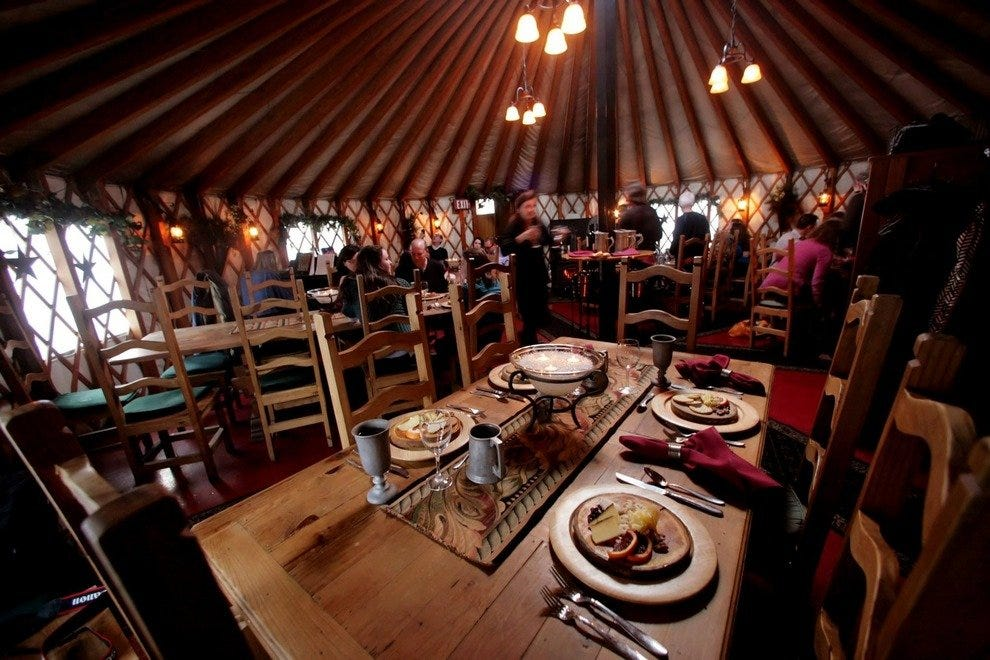 Intimate interior of The Yurt