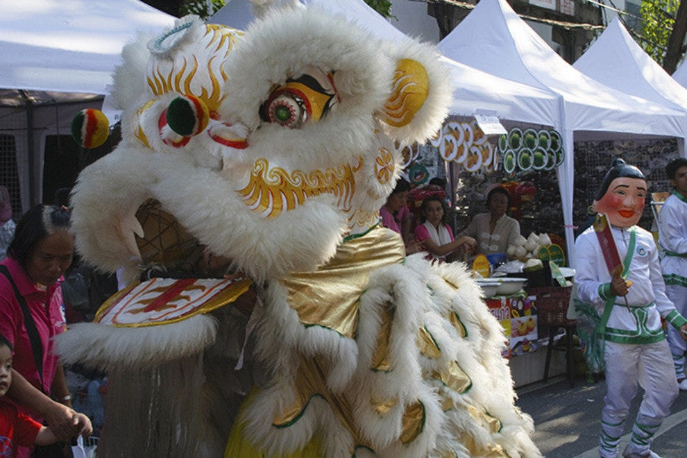 Dragon dancer in Chinatown