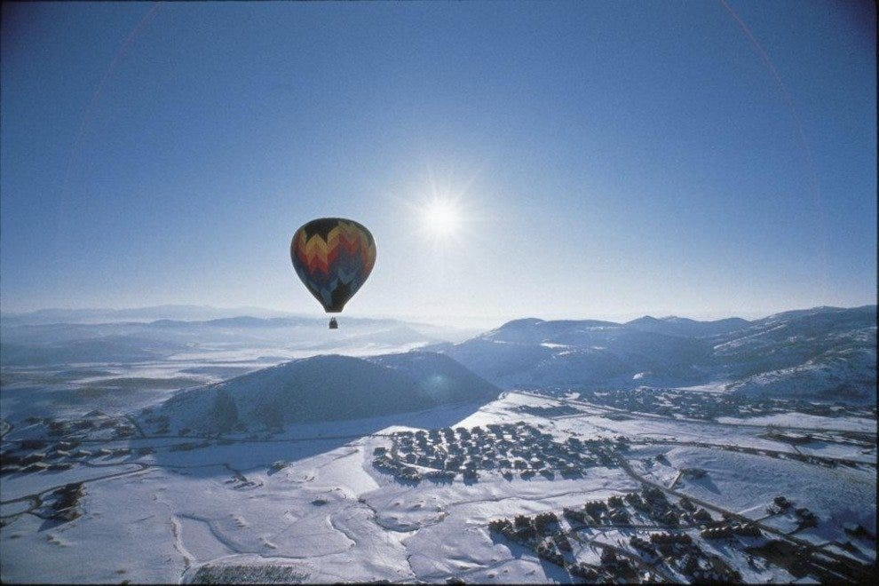 Sunrise over Park City from above