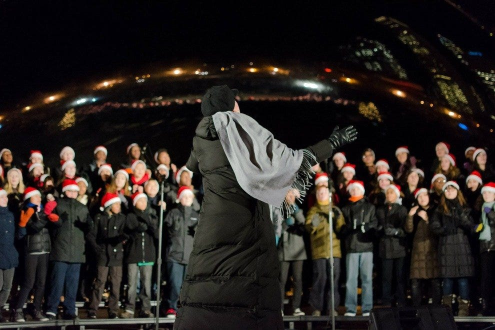 Chicago Children's Choir caroling at Cloud Gate