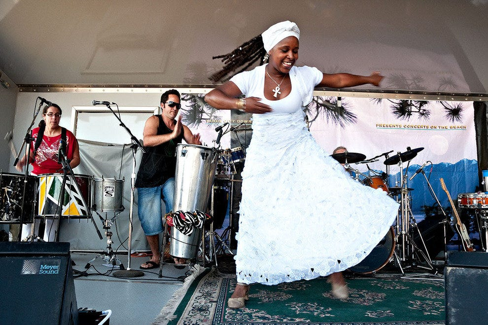 SambaDa dances during the summer concert series at Commons Beach in Tahoe