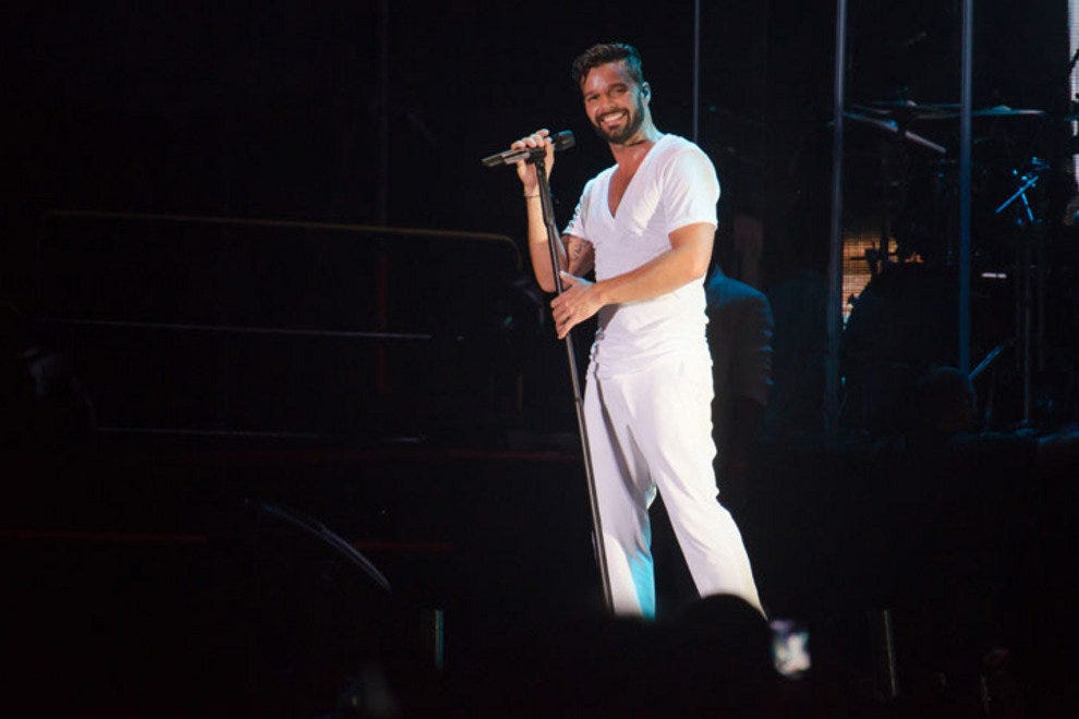 Ricky Martin sang both English and Spanish hits at the concert