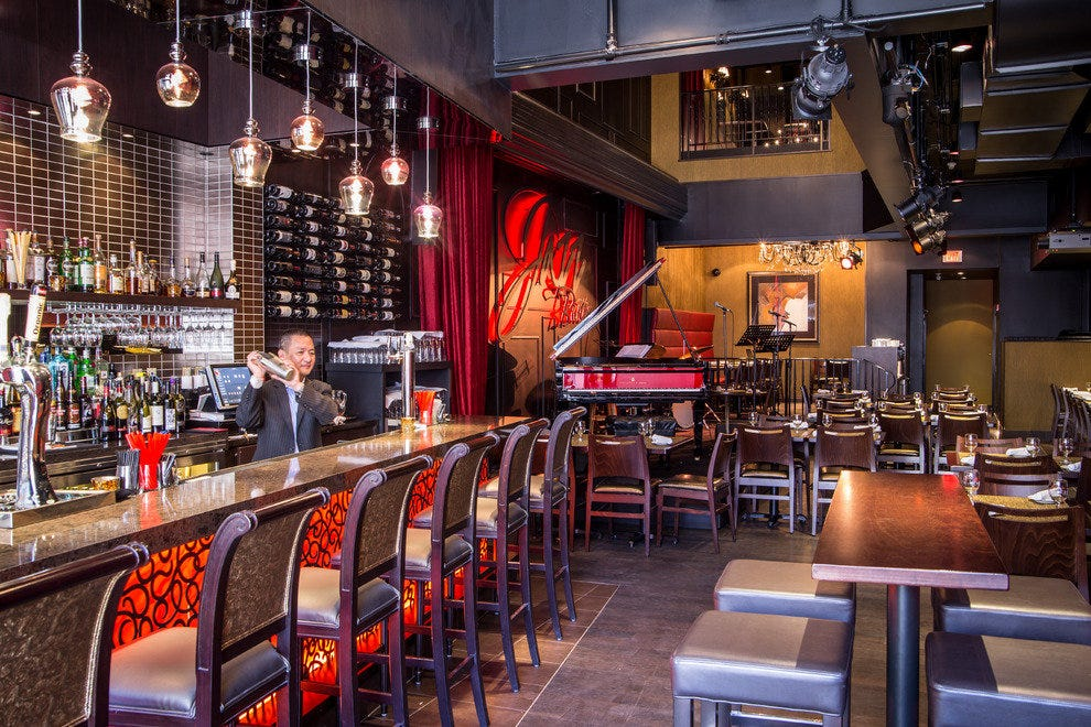 The red accents at Jazz Bistro energize the whole space