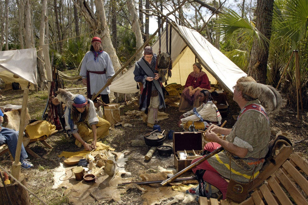 Recreating a typical soldier camp of the 2nd Seminole War