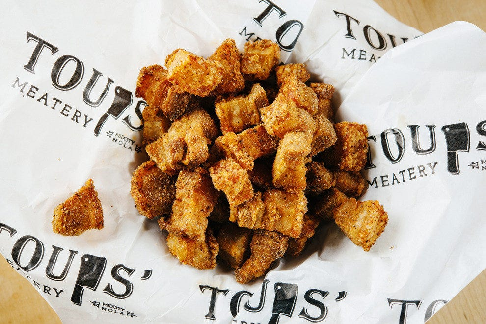 Fried cracklins at Toups' Meatery
