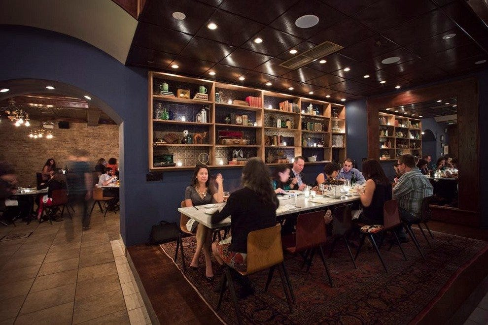 Large parties can dine at the communal table