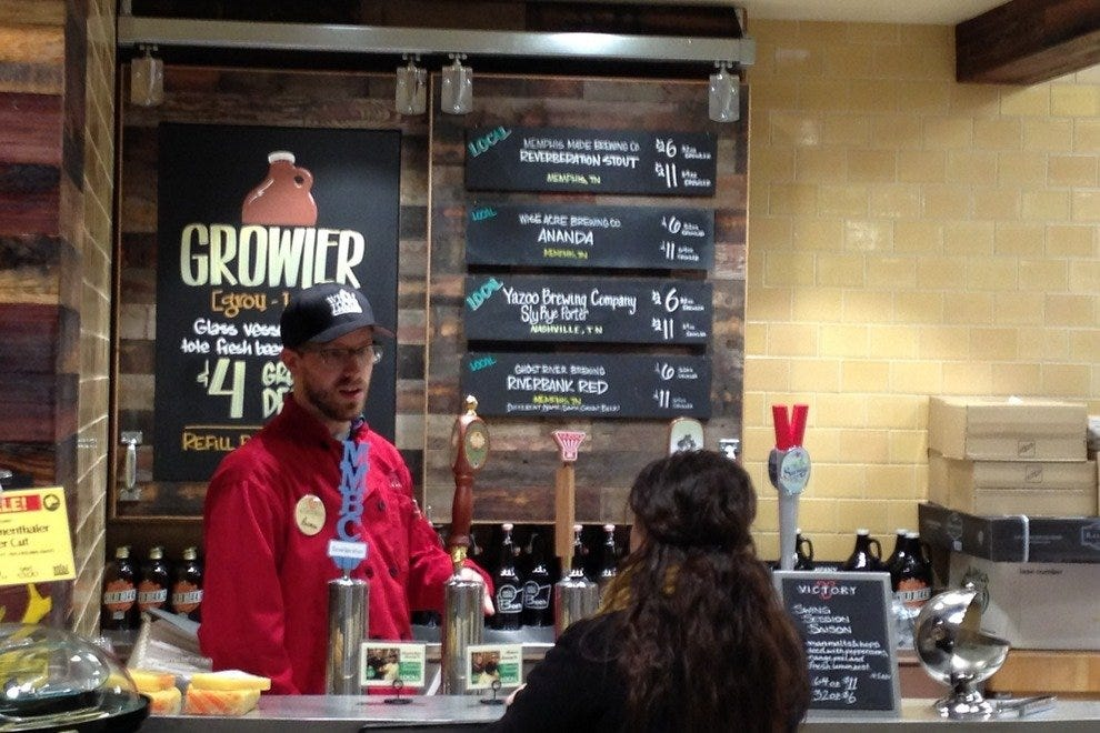 A growler station features five craft beers on tap - and it's heavy on made-in-Memphis brew