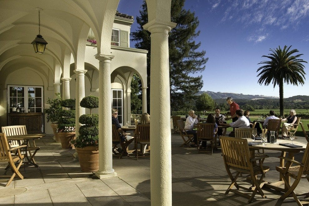 Chateau St. Jean beckons wine tasters to sip in the sunshine.