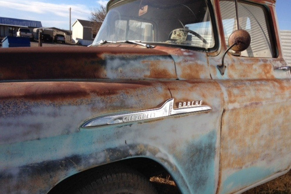A rusty truck in Marfa