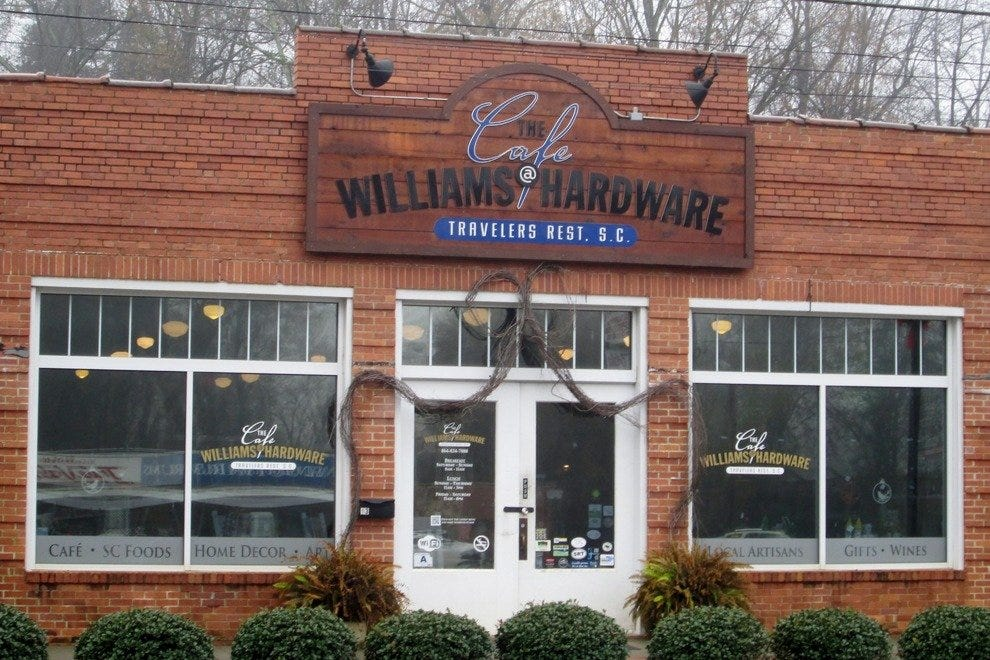 The Café at Williams Hardware sits right on Main Street in Travelers Rest and along Greenville's beloved Swamp Rabbit Trail