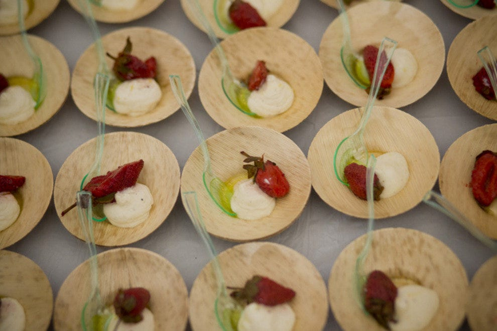 Small tastes vary from savory to sweet at the tasting tents.