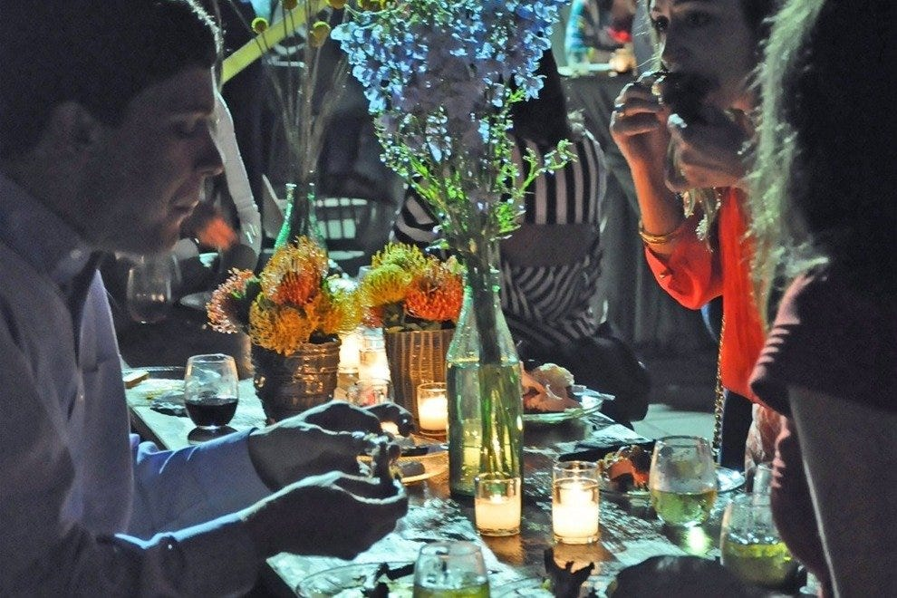 One of the tasting dinners, outdoors at the Brooks Museum of Art