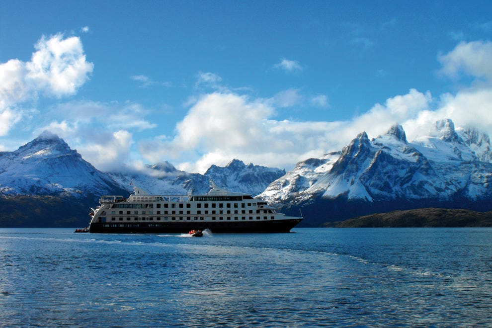 The Stella Australis cruise ship navigates the remote areas of Patagonia