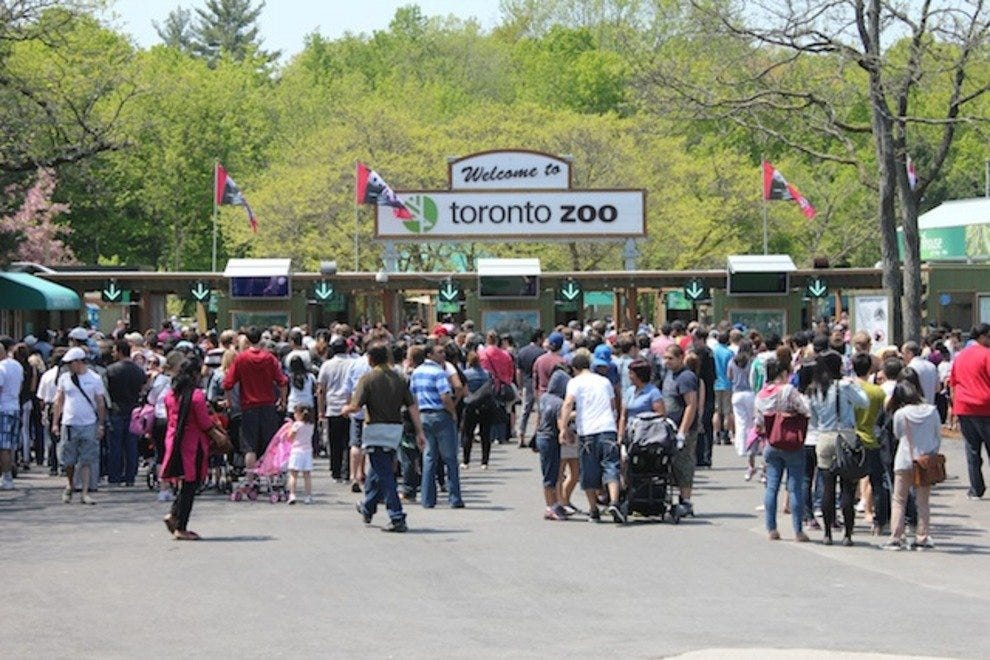 The entrance to Toronto Zoo, just steps away from the many animals