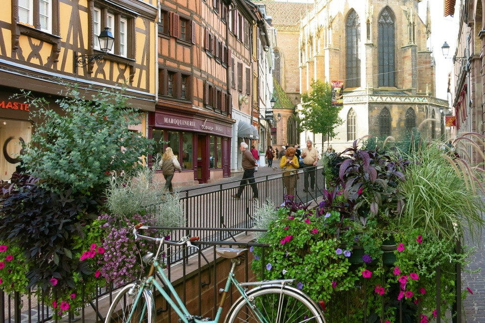 Colmar, France is a photogenic town with blocks and blocks of the half-timbered buildings of medieval times.