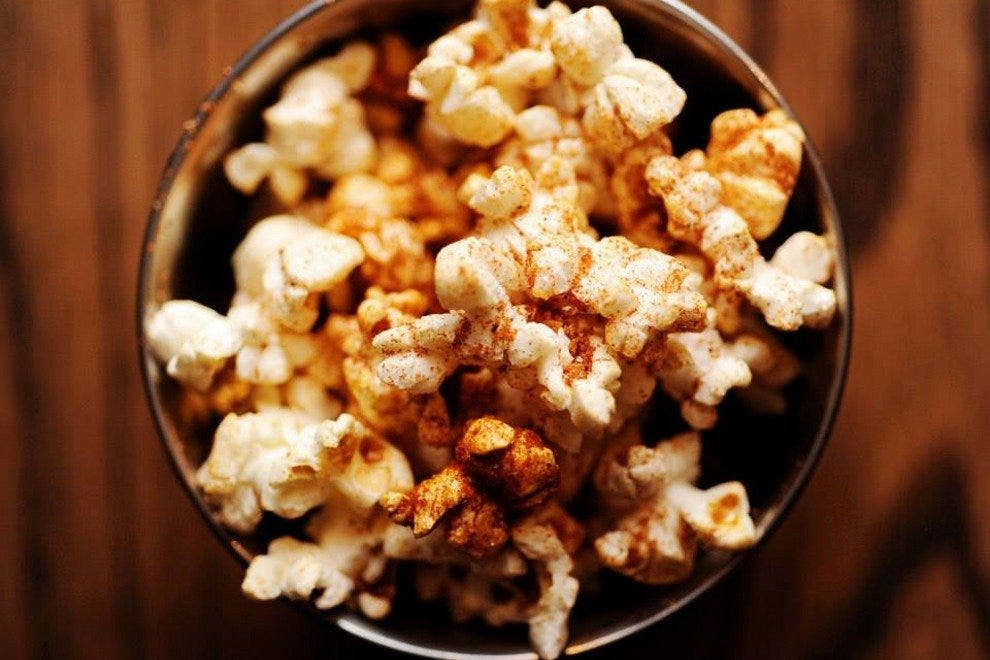 Spiced duck fat popcorn