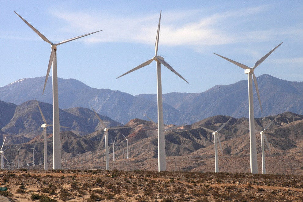 The windmill farms along the freeway in Palm Springs