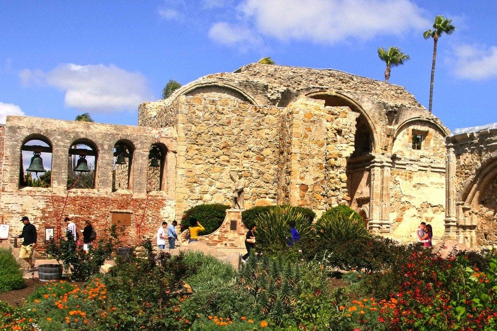 The Mission San Juan Capistrano exudes the romance of yesteryear