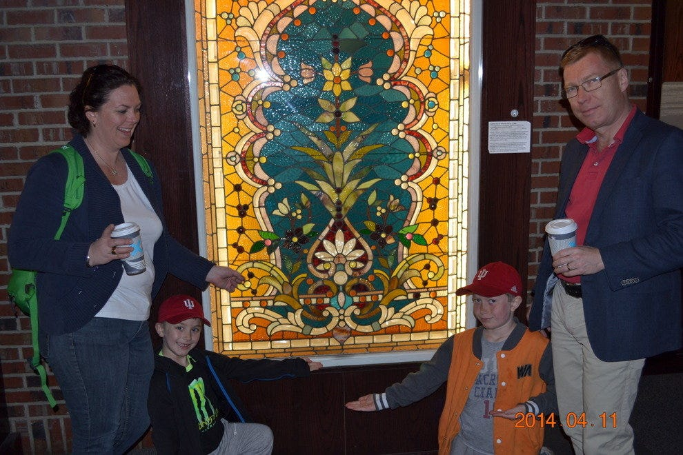 Checking out stained glass windows at Navy Pier
