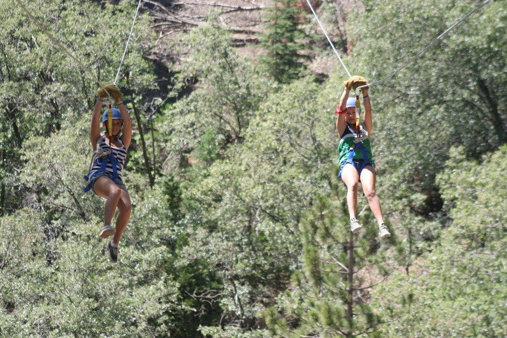 A zipline during Extreme Action camp
