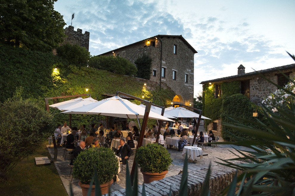 A summer meal at La Taverna, Castello Banfi's restaurant.