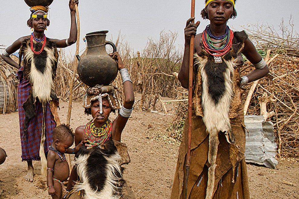 Dassanech women in their village on the Omo River