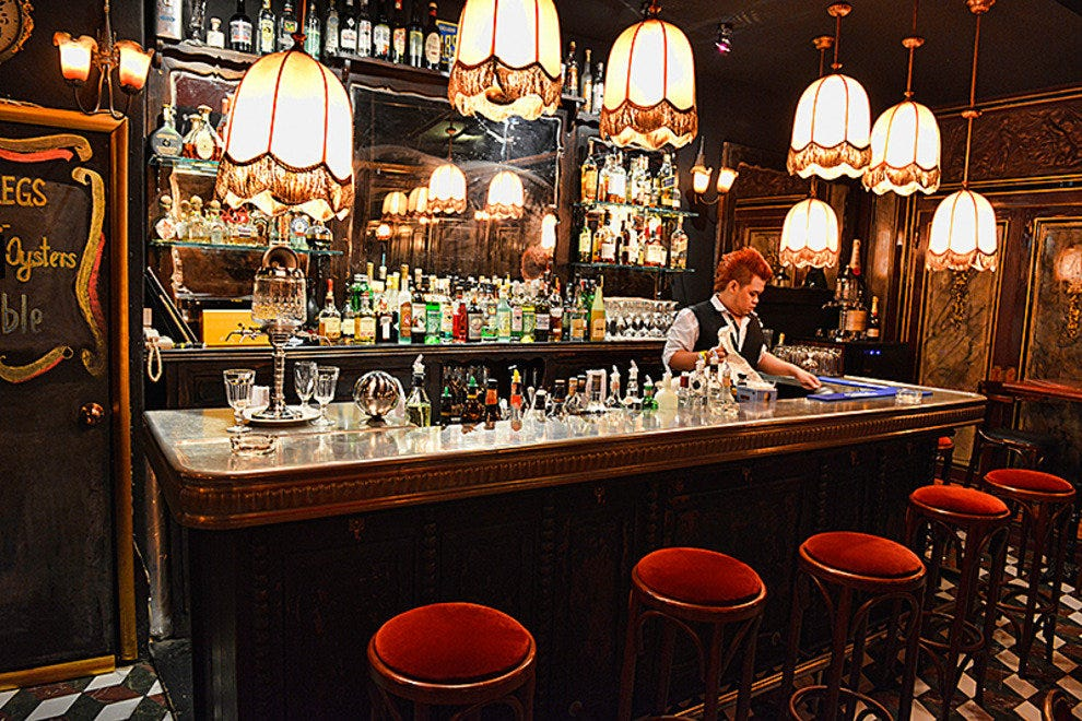 Le Derriere's antique zinc bar