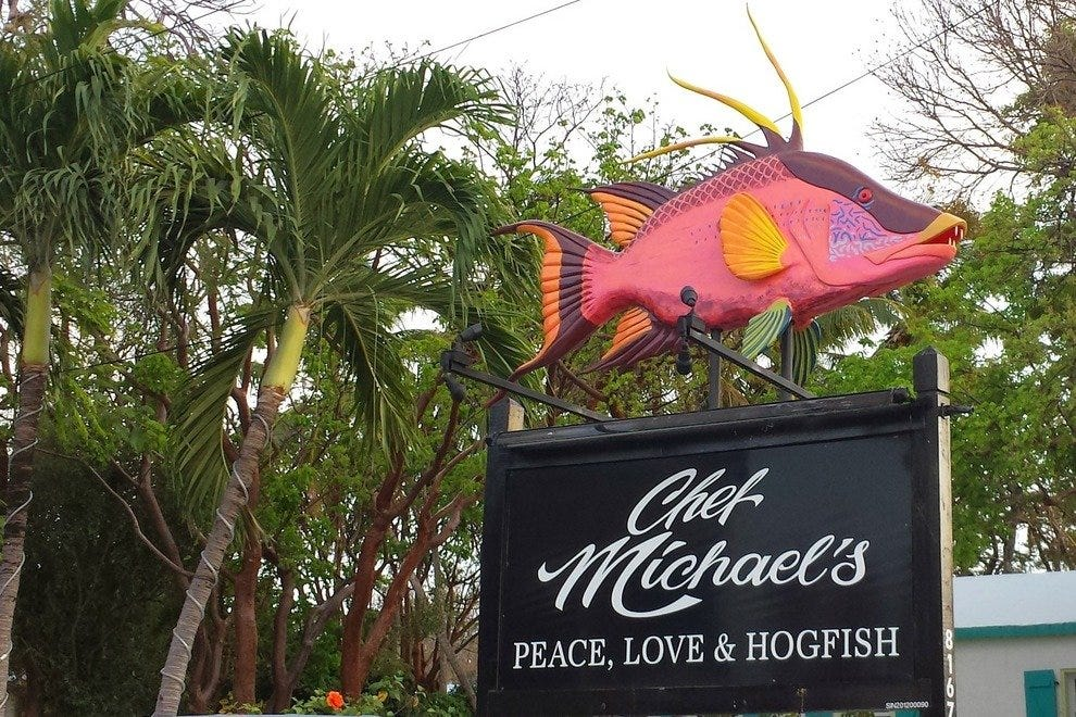 Iconic hogfish sign outside Chef Michael's in Islamorada