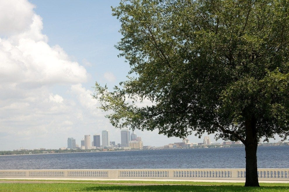 Bayshore Boulevard provides spectacular views of downtown Tampa