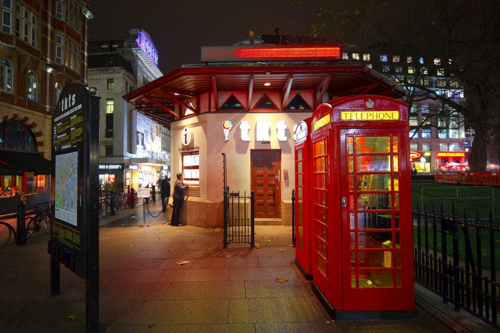 TKTS in Leicester Square offers half-price last-minute tickets for West End theater shows.