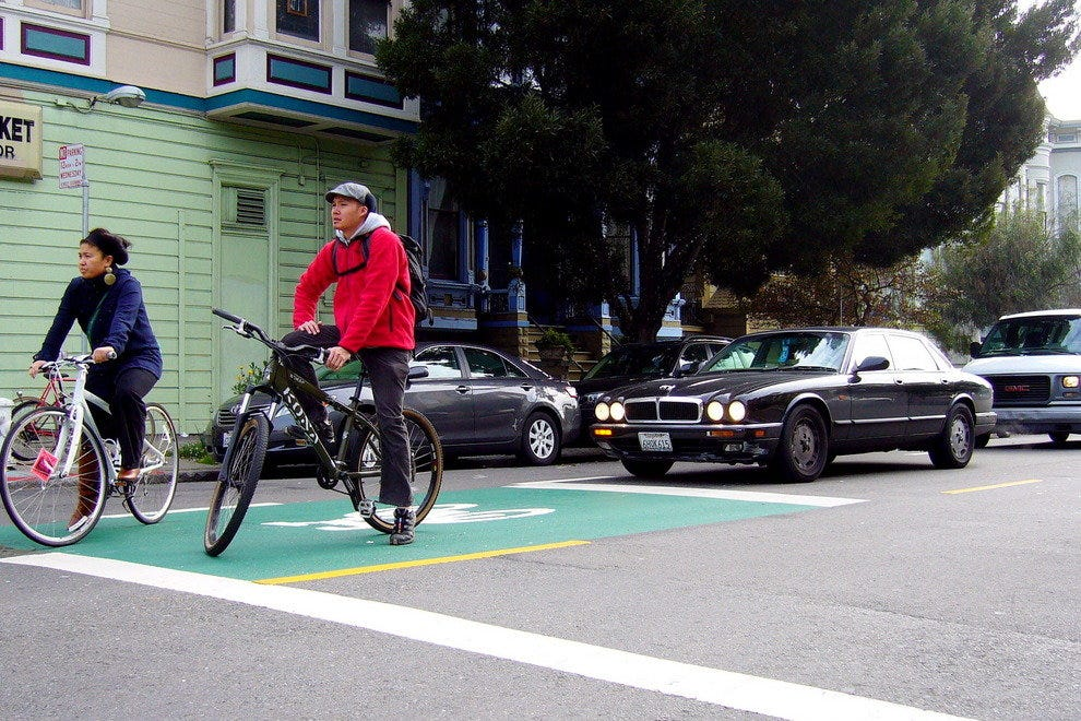 "First ""Green Zone"" in San Francisco, which greatly increased bicycle safety"