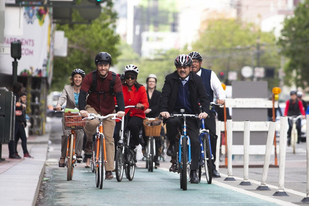 "Mayor Ed Lee leads the charge on San Francisco's ""Bike to Work Day"" in 2013"