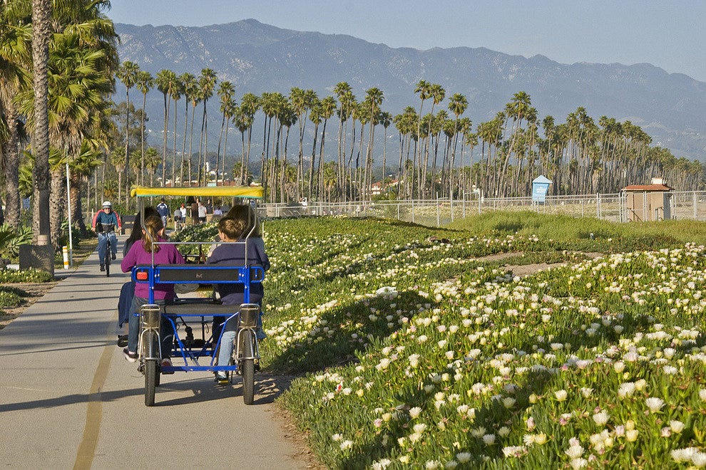 The Santa Barbara coastal trail is about 4.5 miles long and is open to cyclists and pedestrians