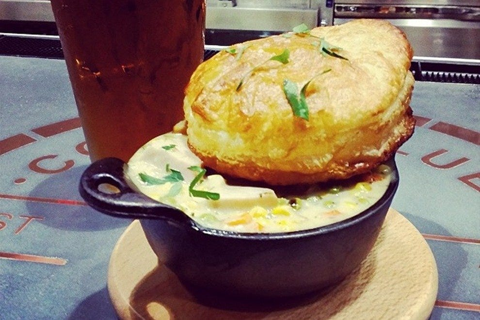 The turkey pot pie and a craft brew out the tap at Copper Blues