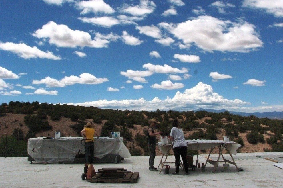 Making scenery on the back deck at The Santa Fe Opera